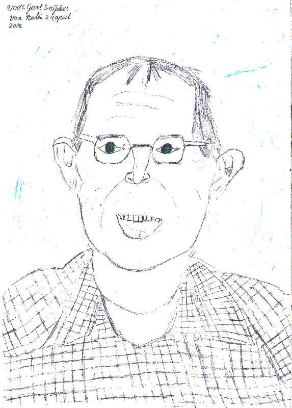 Een meisje uit mijn groep maaktevoor mijn verjaardag, dit portret van mij.
